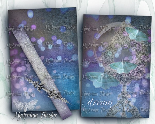 Digital Dream Journal Kit - 12 Pages Book Cover with Spine and Ephemera