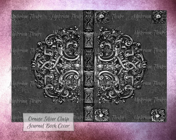 Victorian Silver Digital Journal Book Cover Printable