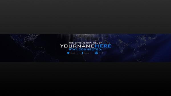 Earth Flat-satelite Design Youtube Banner  Psd