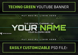 Rated Designs Techno Green Youtube Banner Template