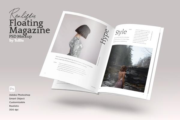 Realistic Floating Magazine PSD Mockup