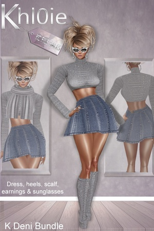 K Deni mega bundle , dress, scalf, earings, sunglasses and boots