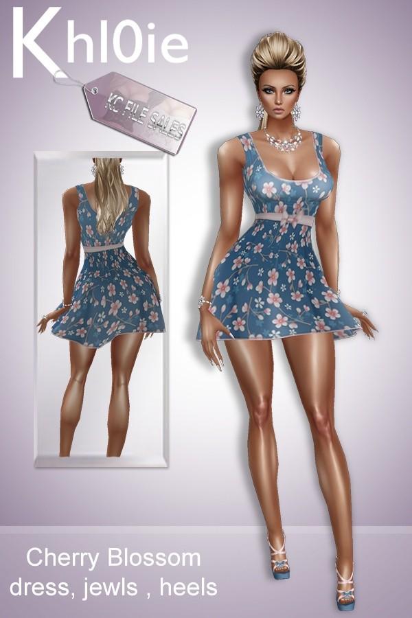 Cherry blossom dress  heels and jewls