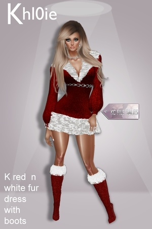 K red white fur dress n boots