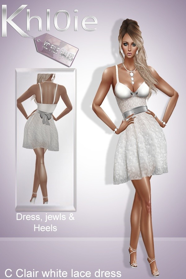 C clair white lace bundle ( dress, heels and access)