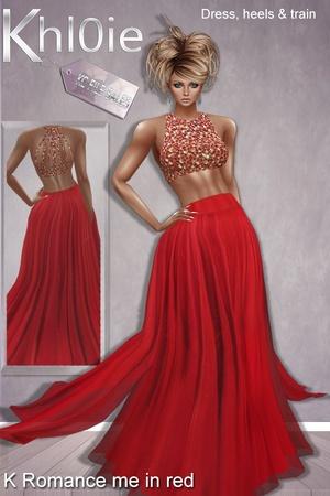 K Romance me in red ( Dress , Train & Heels