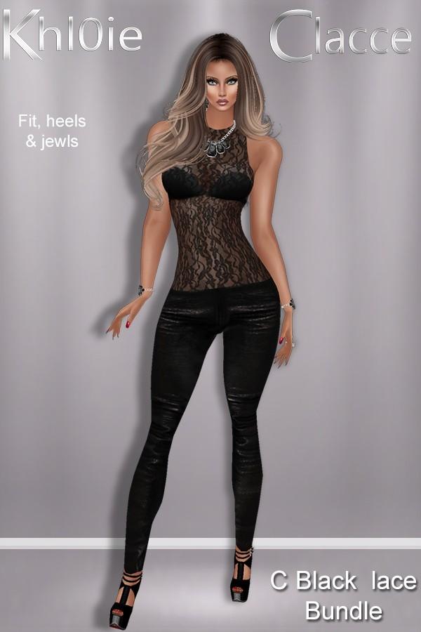 black lace fit bundle ( outfit, heels & jewls)