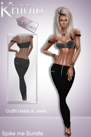 Spike me bundle ( outfit, heels and jewls)