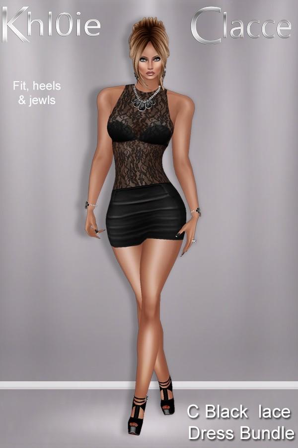 C black lace dresss bundle ( dress, heels & Jewls )