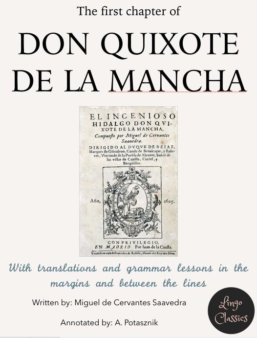 Chapter 1 of Don Quixote de la Mancha - annotated .ibooks format