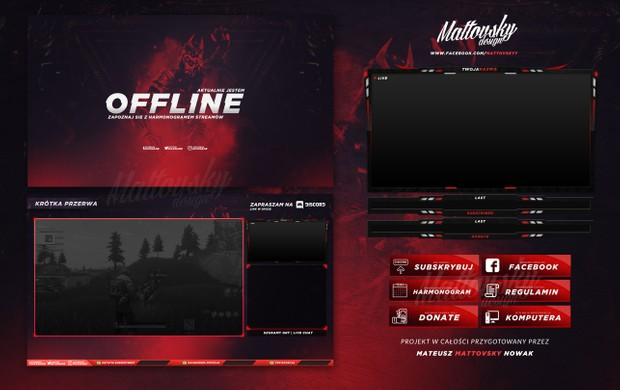 FREE TWITCH OVERLAY TEMPLATE - RED/BLACK