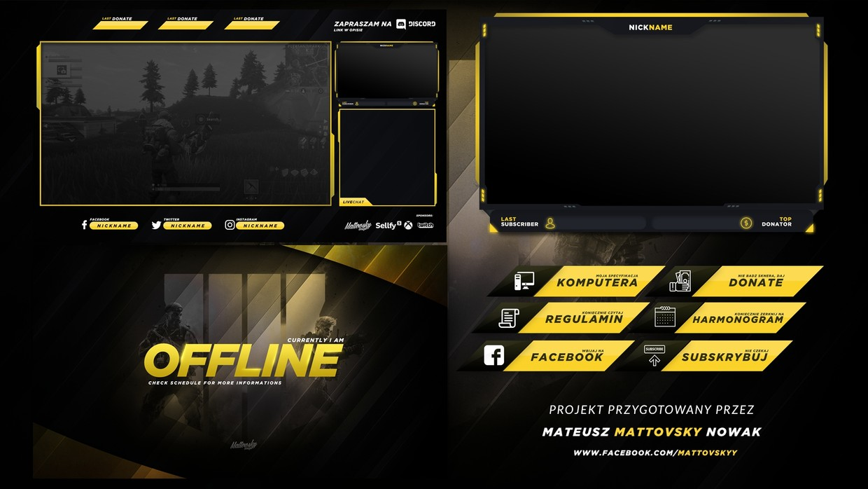Free Twitch Overlay Template Yellow Black