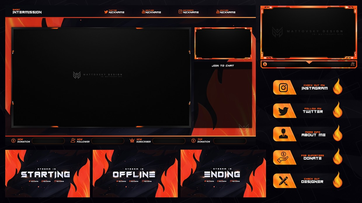 Flame Stream Overlay Template Psd Pack Mattovsky