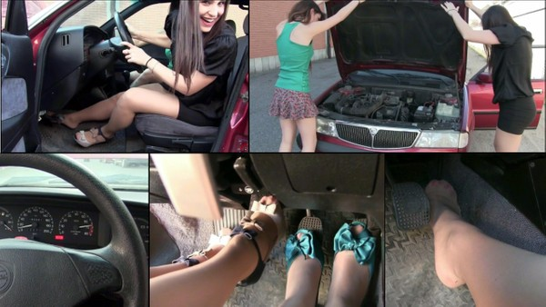 151 : Miss Iris & Miss Black Mamba torture and blow the engine of the Lancia Dedra