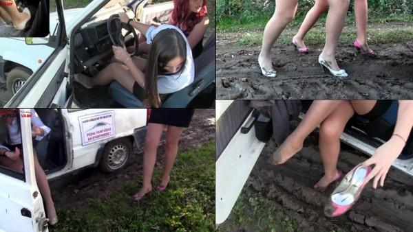 117 : Miss Iris & Miss Melanie funny desperately stuck in the mud