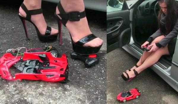 282 : Miss Iris crushing the radio controlled car