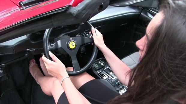 191 : Miss Iris teasing the Ferrari with her sexy feet