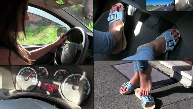 112 : Miss Iris beautiful feet push the gas of Vicky's Fiat Panda