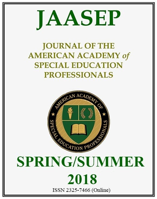 SPRING/SUMMER 2018  - Journal of the American Academy of Special Educational Professional (JAASEP)