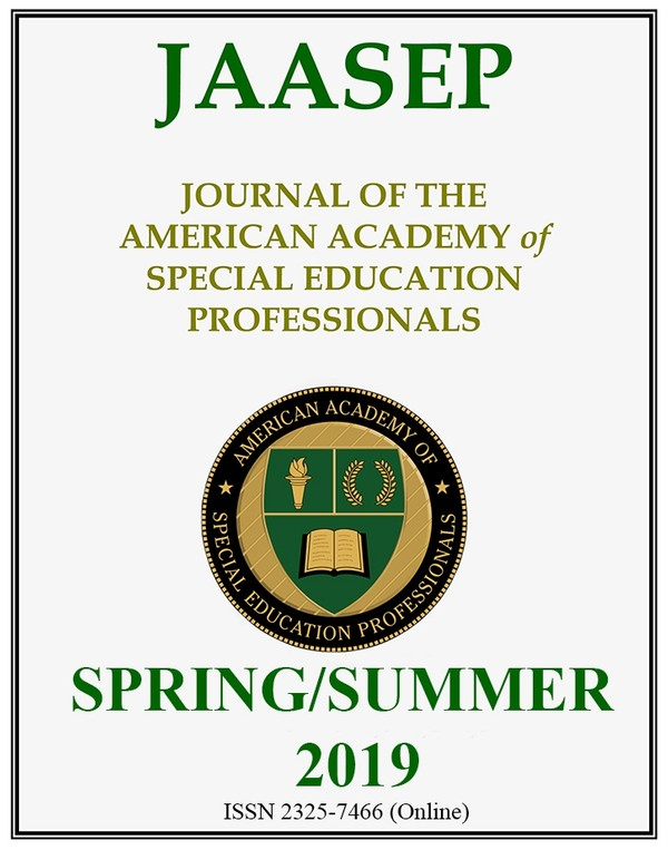 JAASEP SPRING-SUMMER 2019 (Journal of the American Academy of Special Education Professionals)