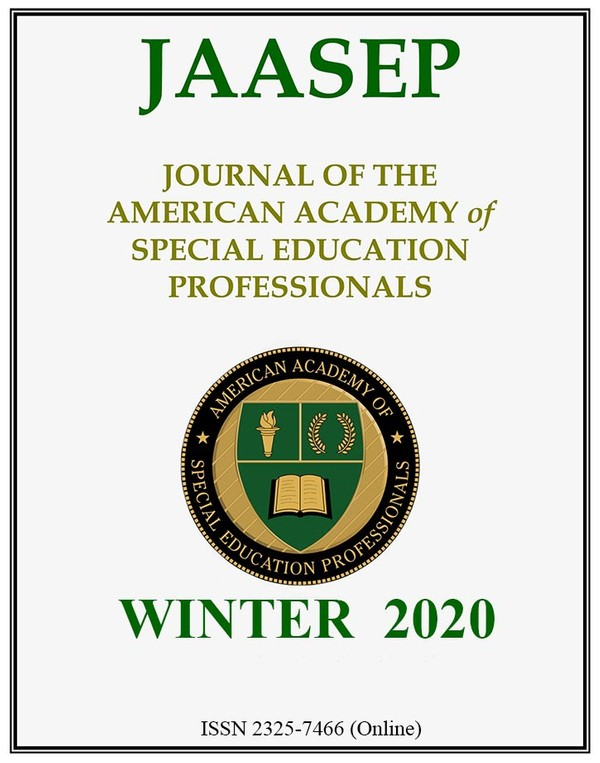Journal of the American Academy of Special Education Professionals - (JAASEP) WINTER 2020
