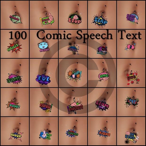 100 Speech Comic Text Belly piercing