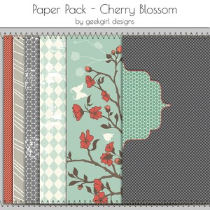 Cherry Blossom Paper Pack by geekgirl designs