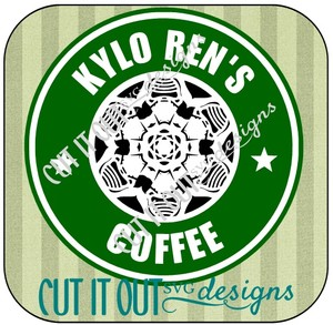 Star Wars: The Force Awakens Kylo Ren Snowflake Style Starbucks Coffee Labels SVG