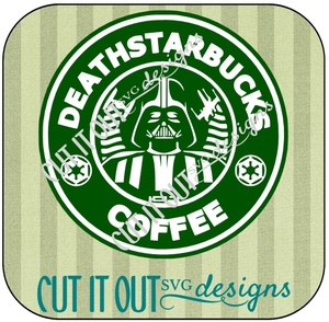 Deathstarbucks Parody Coffee Label SVG design Cut File