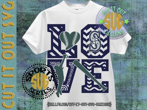 LOVE BASEBALL - Seattle Mariners SVG Cutting File