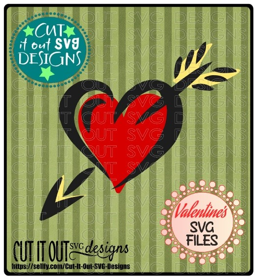 Heart and Arrow SVG Valentines Element - Layered Cutting File perfect for HTV or Vinyl, Cardstock