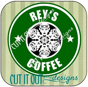 Star Wars: The Force Awakens Rey Snowflake Style Starbucks Coffee Label SVG