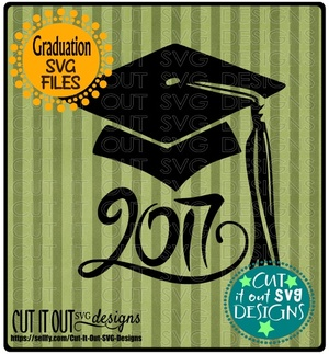 2017 Graduation Cap SVG layered File for Cutting, Printing, HTV Vinyl and Iron on transfers