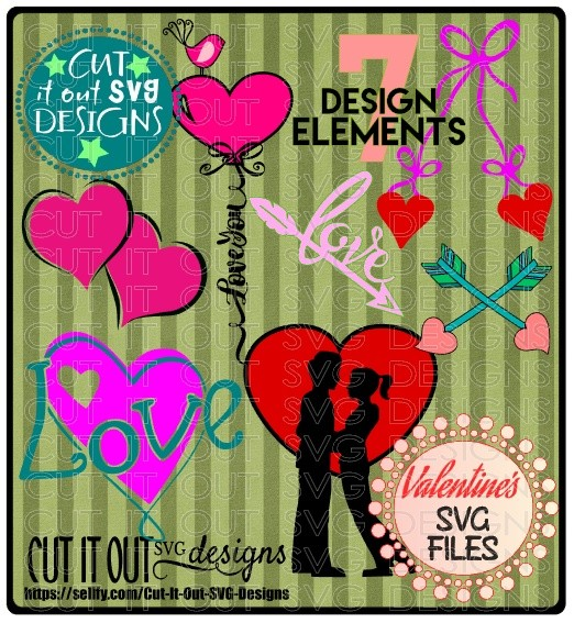 7 Love Elements Bundle - Layered SVG Cutting Files perfect for Valentines day