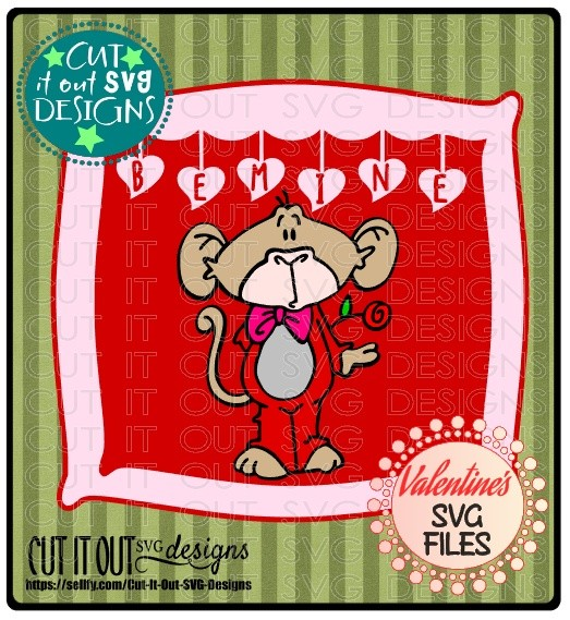 Valentines Monkey Be Mine Layered Frame SVG Cutting File