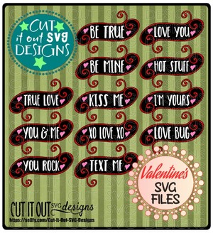 Valentine Sayings Tags Element SVG Cutting File