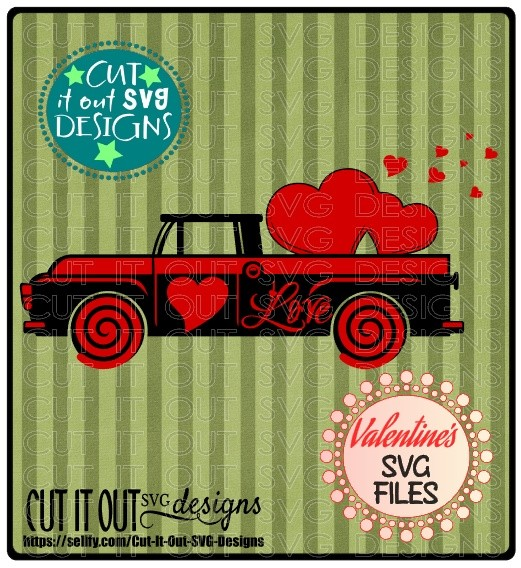 Pickup Love Truck Valentines Element SVG Cutting File