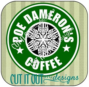Star Wars: The Force Awakens Poe Dameron Snowflake Style Starbucks Coffee Labels SVG