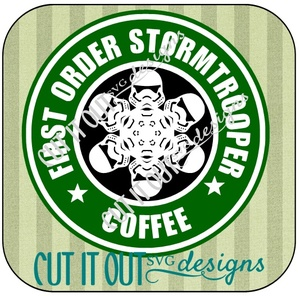 Star Wars: The Force Awakens Storm Trooper Snowflake Style Starbucks Coffee Labels SVG