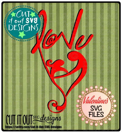 Partners in Love Stylized Valentines Element SVG Cutting File