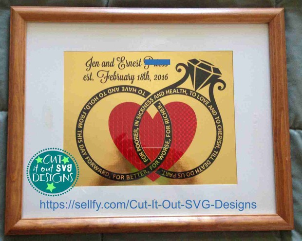 Wedding Rings with Vows and Heart SVG Cutting File - Great for Anniversaries and Wedding gifts