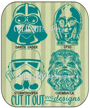 Characters from Starwars-  Chewbacca, Darth Vader, CP3O and Storm Trooper SVG Cutting File