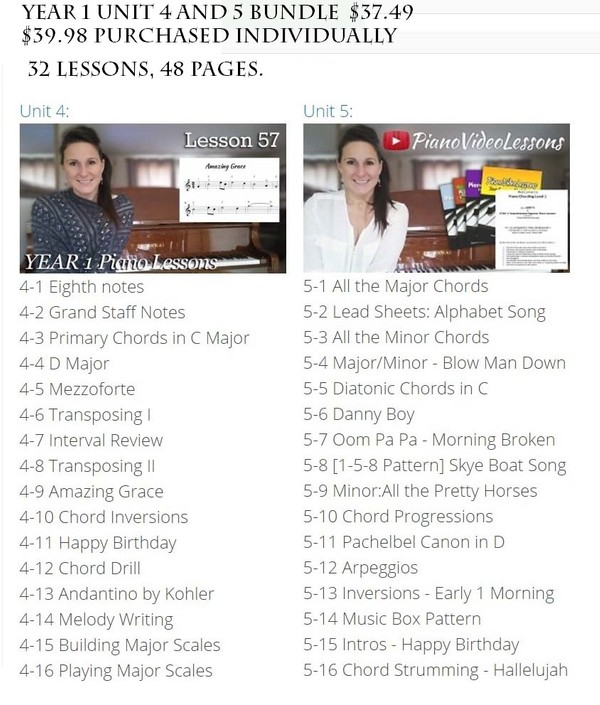 Year 1 Unit 4-5 Bundle - 32 Lessons [PianoVideoLessons]