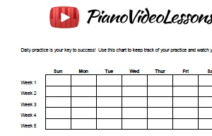 picture relating to Music Practice Chart Printable Free identified as Each day Piano Coach Sheet - Totally free Down load