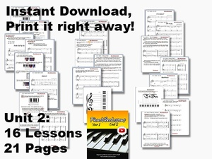 UNIT 2 [Year 1 PianoVideoLessons]  (16 lessons) PDF, 21pp