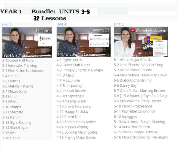 Year 1 - Units 3-5 Bundle, 48 lessons