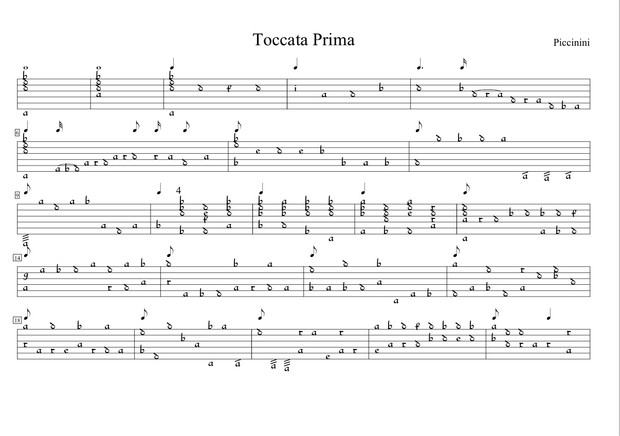 Theorbo Pieces by Piccinini in French TAB