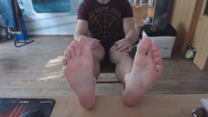 Propped up feet Worship.