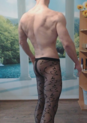 Cocky Muscle Hunk in Black Sheer Tights