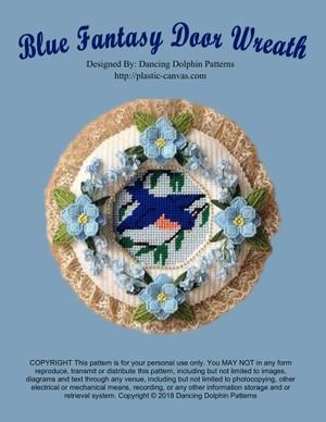 139 - Blue Fantasy Door Wreath
